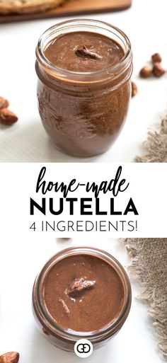 A delicious homemade vegan Nutella ready in no time! Creamy, rich and with less than half the calories of the real deal! Homemade Nutella Recipes, Chocolate Recipes, Healthy Nutella Recipes, Nutella Vegan, Vegetarian Recipes, Cooking Recipes, Sans Gluten, 4 Ingredients, Vegan Desserts