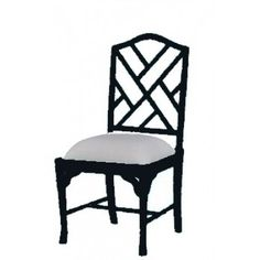 Custom Chinese Chippendale Dining Chair Faux Bamboo chair, custom paint finish (including gold crackle) and custom fabric, $399.