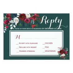 Winter peonies wedding response meal choice RSVP Card - wedding invitations diy cyo special idea personalize card