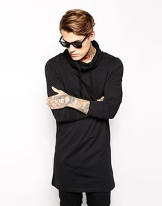 ASOS Long Sleeve T-Shirt In Super Longline With Cowl Neck