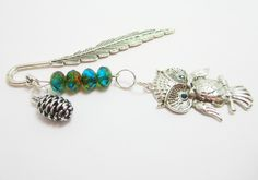 Feather Metal Bookmark Owl Bookmark Large Owl Charm Pine Cone Charm Green Czech Rondelles Woodland Bookmark by WhispySnowAngel on Etsy