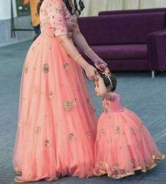 Mom and cute daughter