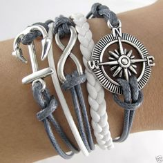 Fashion Retro Silver Infinity Anchor Compass Cross Charms Leather Rope Bracelet