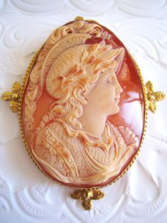 *MUESEUM QUALITY ~ Italy, Huge Real Shell Cameo, Antique, Silver 18k Gold Pin, Greek Goddess.