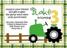 Tractor Birthday Party Green Tractor Printable. $10.00, via Etsy.