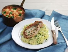 Pork Steaks with Mustardy Beans & Parsley Mash