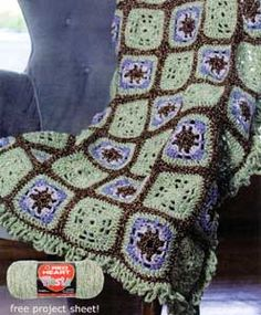 Crochet Little Windows Granny squares  Purple kitty yarns website  **TO TRY**