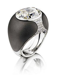 Ebony 8 Ball diamond studded ring uniquely by adler