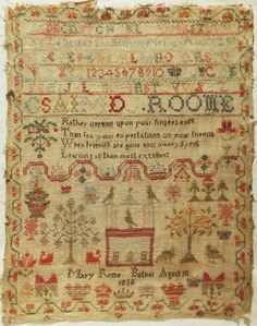 EARLY 19TH CENTURY WOOL WORK SAMPLER BY MARY ROME OF BOTHEL - AGE 10 - 1838