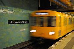 Berlin underground railway train entering the station at Alexanderplatz, Berlin.