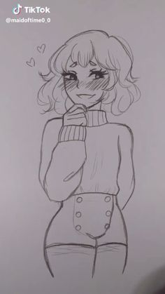 art sketches drawing of a shy girl who is blushing – Easy Pencil Drawings, Art Drawings Sketches Simple, Realistic Drawings, Cute Drawings, Drawing Ideas, Cute Girl Drawing, Dress Sketches, Cartoon Drawings, Sketches Of Girls