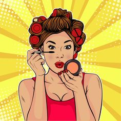 The beauty of the face. Make-up, woman brush causes the tone to the face. Vector Illustration in pop art retro comic style. Bd Pop Art, Pop Art Girl, Pop Art Face, Pop Art Makeup, Makeup Drawing, Pop Art Drawing, Art Drawings, Desenho Pop Art, Farmasi Cosmetics