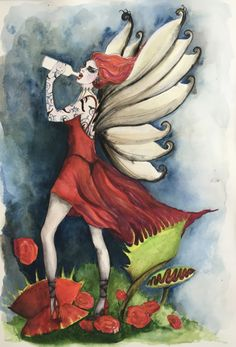 "This original #watercolour #painting is A3 size. Trying something bit different, this #fairy Is bit #dark and #naughty. Instead of drinking #wine she swills #tequila from a bottle. She's a bit ""daring, treading through a maze of #venusflytraps. #artsist #deenoney"