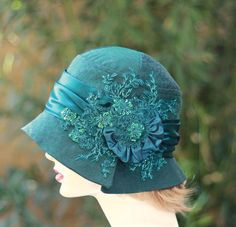 Fancy Special Occasion 1920's Beaded Flapper Cloche Hat Teal Blue - The Fitted Hat