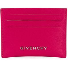 Givenchy Pandora card holder (975 SAR) ❤ liked on Polyvore featuring bags, wallets, card case wallet, card holder wallet, leather bags, pink leather wallet and pocket wallet