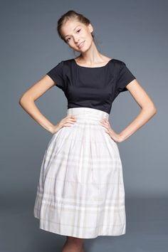 Beige dress 50s full skirt 1950 dress short sleeve por mrspomeranz