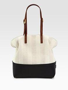 Love this Fendi maxi raffia & leather handle bag
