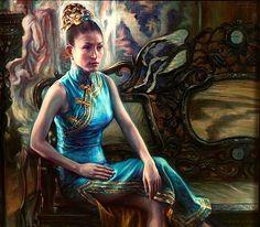 ศิลปิน ศักดิ์วุฒิ วิเศษมณี กี่เพ้า - Qipao, 2005, oil on canvas, 115 x 130 cm