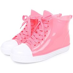 New Fashion Women Lace-Up Rain Boots Female Non-Slip Ankle Rainboots Candy Colors Woman Water Shoes Pvc Pink 8.5 -- For more information, visit image link. (This is an affiliate link) #Outdoor