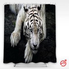 Tiger White Big cats Glance Snout Paws Animals Shower Curtain