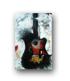 Guitar Painting White Black & Red Abstract by heatherdaypaintings, $325.00