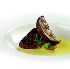 Funghi alla griglia con fonduta di Grana Padano