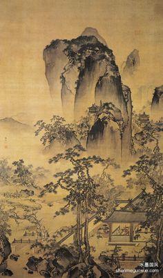 《松院闲吟图》  明 朱端 绢本设色 纵230.2厘米 横124.3厘米 天津市艺术博物馆藏