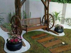 Diy garden ideas on a budget garden ideas small garden ideas that will look great in Small Backyard Gardens, Small Gardens, Diy Garden Decor, Garden Art, Garden Planters, Garden Cottage, Garden Structures, Front Yard Landscaping, Garden Projects