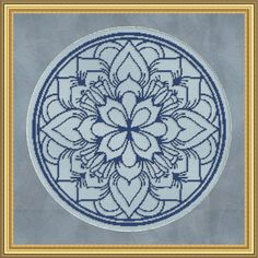 Counted Cross Stitch Pattern Floral Medallion Monochrome 5 Cross Stitch Pattern / Design. $2.95, via Etsy.