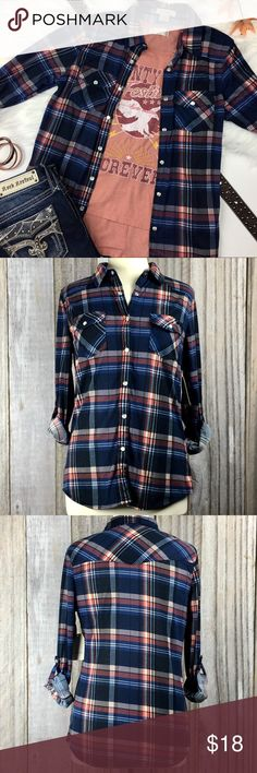 "NWT PASSPORT Button Down Plaid Blue & Peach Shirt This super cute plaid, button down shirt by PASSPORT is long sleeve. It's a beautiful denim blue and peach blush color. It features front flap snap pockets and convertible button snap sleeves. The additional pictured shirt is not included, but is listed in my closet for purchase.  Condition: Brand New with Tags Size: M Color: Denim/Blush  Chest: 22"" Length: 20""  Material: 100% Polyester    I LOVE OFFERS! Sorry no trades. Bundle to Save…"