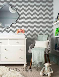 Decoraci n cuarto de bebe on pinterest pintura chevron for Disenos de pintura en paredes