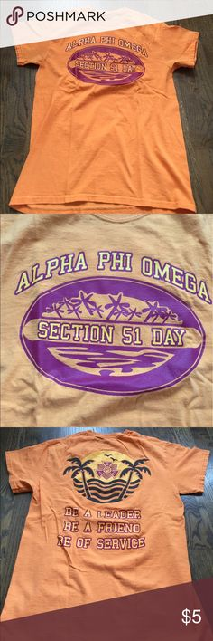 Alpha Phi Omega Section 51 Day Got from DePaul. Alpha Phi Omega is national co-ed service fraternity. Tag cut out. CustomInk.  Unisex. Tops Tees - Short Sleeve