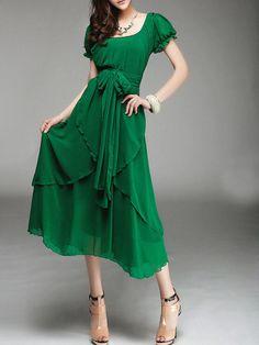 Trendy Plain Short Sleeve Maxi-dress