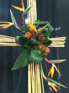bamboo cross, bird of paradise, pincusion