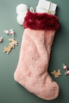 Anthropologie Colorful Faux Fur Stocking