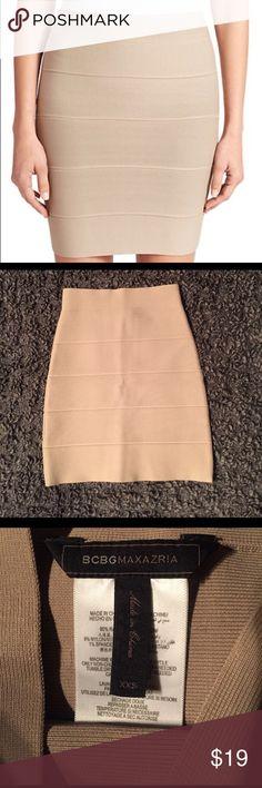 BCBG Tan Power Skirt XXS Perfect condition bandage skirt BCBG Skirts Mini