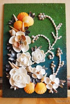 куртина из ракушек 8 - Яковенко Дина Sea Crafts, Nature Crafts, Diy Arts And Crafts, Crafts To Do, Creative Crafts, Seashell Art, Seashell Crafts, Seashell Projects, Driftwood Projects