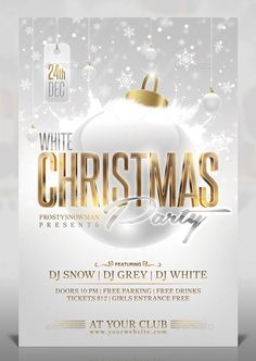 White Christmas Party Flyer — Photoshop PSD #disco #cocktail • Available here →…