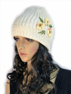 White Hand Knit Crochet Slouchy Winter Beanie Cap with Flower Trio Accent KENGDO,http://www.amazon.com/dp/B00I827HIU/ref=cm_sw_r_pi_dp_l-K.sb0VEZBW4S2C