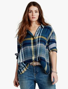 Lucky Brand Boyfriend Plaid Womens - Blue Multi (1X)