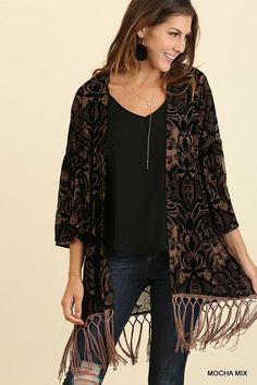 We love this one! 3/4 Sleeve Velvet... You can get it here  http://www.rkcollections.com/products/3-4-sleeve-velvet-kimono-with-tassel-hemline?utm_campaign=social_autopilot&utm_source=pin&utm_medium=pin