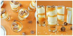 No bake salted caramel cheesecake shooters layered with salted caramel and topped with Rolos candy. Use store-bought ingredients to make this easy dessert No Bake Cheesecake Filling, Cheesecake Shooters, Dessert Shooters, Cheesecake Desserts, Mini Desserts, Easy Desserts, Delicious Desserts, Individual Desserts, Shooter Recipes