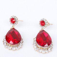 Pair of Vintage Faux Ruby Water Drop Earrings