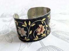 vines - vintage tin bracelet ~ little black rabbit