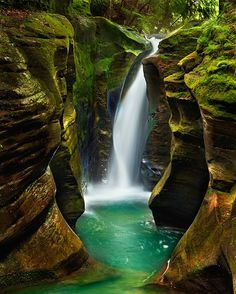 Elusive Corkscrew Falls In Ohio... Hidden away in Hocking Hills State Park, these epic falls are probably the prettiest in the whole park-- and since they're sort of secret, you don't have to worry about sharing the trail. That's right, you can have this waterfall all to yourself! They were discovered by photographer Steve Perry, who took this stunning picture. Click to the link for directions...