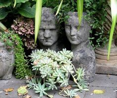 How to make cement head planters