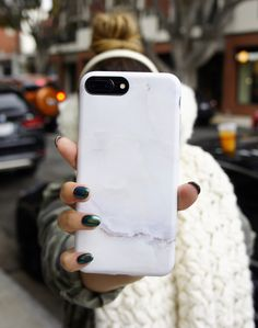 Winter essentials with the Ivory White Marble Case available for iPhone 7 & iPhone 7 Plus from Elemental Cases