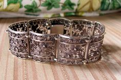 Vintage Sterling Filigree Panel Bracelet by NorthShoreAntiques, $35.00