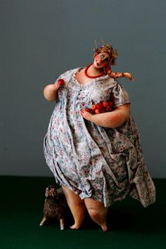 KATYA Fairy tales YABLON'KA  30 cm. papier mache, modelling clay, fabric