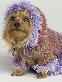 omg adorable! Fur-Trimmed Hoodie & Booties crochet pattern